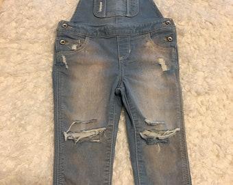 Distressed girls baby gap overalls 18-24m, destroyed denim, ripped denim, trendy kids clothes, trendy baby, custom kids denim