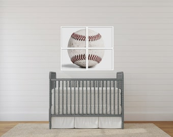 Set of Four Baseball Hardball on white Photo Prints, 4 sections to make one whole ball when framed.