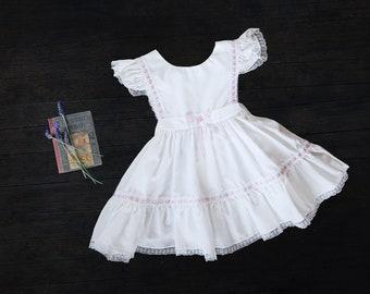 Vintage Girls Pinafore Dress -  c1980s - Size 2-4