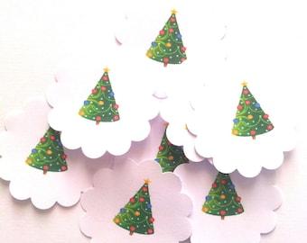 15 gift tags, flowers paper - Christmas tree - diameter 3.5 cm