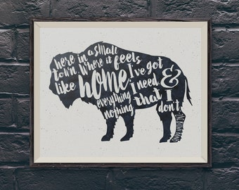Buffalo Home Zac Brown Band typography Watercolor Artwork 8x10 in Navy