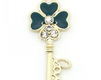 "beautiful key pendant ""love"" metal gold rhinestone and enamel teal 32 * 14mm approx."