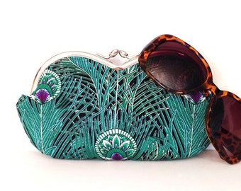 Peacock sunglasses case, large sunglass case, eyeglass case, sunglass holder, small clutch, coin purse, case for sunglasses