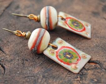 Orange Starburst Earrings, Enamel Earrings, Lampwork Glass Earrings, Boho Chic Earrings, Square Earrings, Unique Earrings