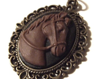 For the Equestrian in your life  Horse Cameo Necklace