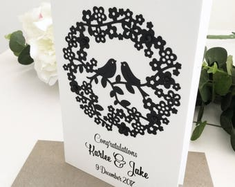 Monochrome Wedding Day Card, Personalised Wedding Gift for Couple, Handmade Greeting Card, Wedding Card Ideas, Love Birds, Black and White
