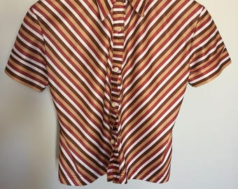 Vintage Striped Button up Collard Shirt