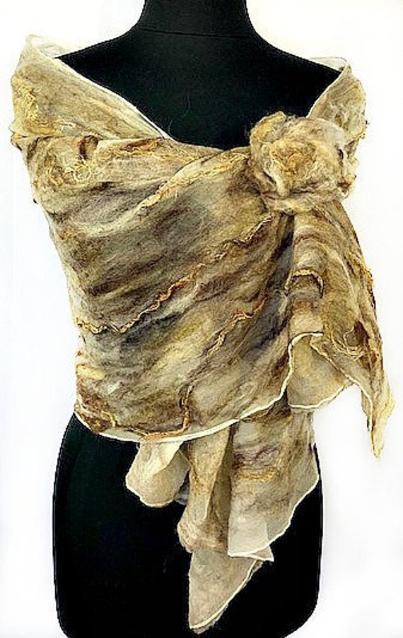 Earthtone Felted Wrap, Felted Scarf, Felted Silk Scarf, Natural colored Scarf, Wearable Art, Fashion Accessories, Graceful Ewe Fiber Arts