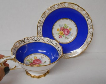 Vintage Royal Stafford Blue Teacup & Saucer 1940's Bone China England Fancy Teacup Set Ornate Gold Trim Roses Shabby Cottage Free Shipping