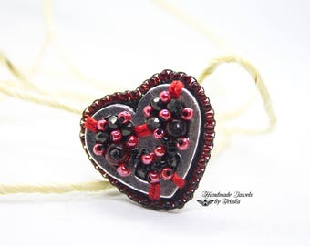 """Embroidered ring """"Heart"""", red and black"""