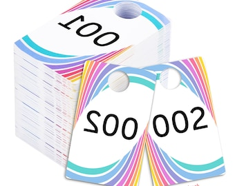 Live Sale Plastic Tags, 001-999 Reg.& Reverse Mirror Image Backwards Numbers Facebook Sales Reversed Mirrored Hanger Cards, Choose a 100 Set