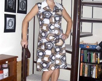 Vintage geometric pattern dress with collar - medium