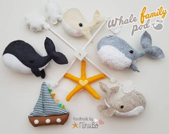 Whale Family Baby Mobile - Ocean Animals Mobile - Sea Creatures Mobile - Crib / Cot Mobile - Whales - Hanging Mobile - Whale Mobile
