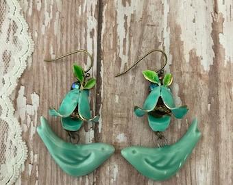 Bluebells, Redesigned vintage earrings, enamel flower, upcycled, OOAK, aqua blue, shabby jewelry, bird, assemblage, vintagefrivolity