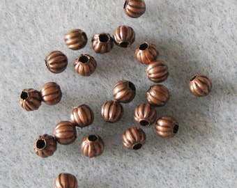 Antique Copper Pumpkin 4mm Spacer Beads Seconds 813