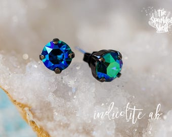 Indicolite AB Swarovski Black Stud Earrings - 8mm