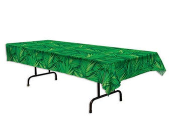 Green Lush Palm Leaf Tablecover/ Green Palm Leaf Tablecover/ Tropical Party Tablecover
