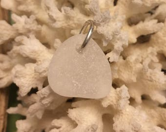 Sea glass jewelry- White sea glass charm