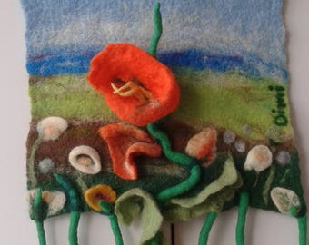 Textile wall art,Felting ,Handmade art merino picture, Art Picture of merino wool