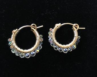 Wire Wrap Hoops Earring- Swarovski Crystal AB, 14K Gold-Fill Hoops