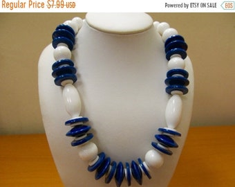 ON SALE Retro Navy Blue and White Beaded Necklace Item K # 3057
