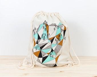 Backpack Tote, geometric mountain, depeapa, screen printed canvas backpack tote, organic canvas backpack, geometric canvas backpack