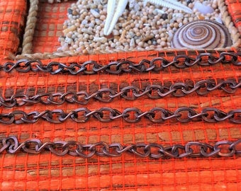 curved medium by 50 cm, copper color curb link chain