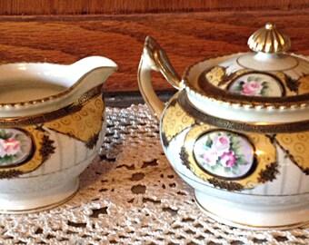 Noritake Cream and Sugar Handpainted Vintage