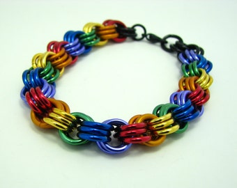 ON SALE True Colors Rainbow Pride Unity Chainmaille Bracelet