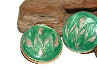 Green Enamel Earrings, Swirled Pattern, Swirl Jewelry, Swirl Earrings, Large Earrings, Circle Earrings, 1980s Jewelry, Costume Jewelry