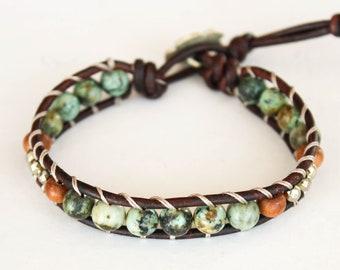 African Turquoise Wrap Bracelet, African Turquoise Bracelet, African Turquoise Beaded Bracelet, Boho Wrap Bracelet, Leather Wrap • 1XAT011