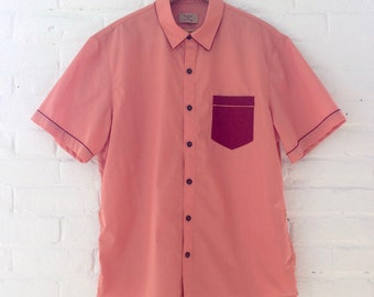 Coral Buttondown with Maroon Detail and Brown Buttons // Large