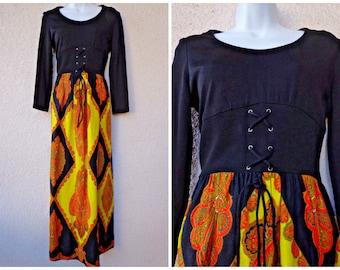 1970s MAXI DRESS. Hippie Dress. Boho Dress.Faux Corset Waistband. Festival Dress. Psychedelic Print.  Fitted Waist. Long Dress. Paisley. M