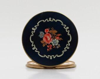 Blue Floral Compact Mirror - Vintage 1950s Pocket Mirror