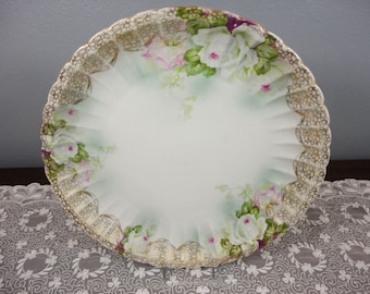 """Rare PM Moschendorf Charger Plate - White Roses Gilt Trim - 12-3/8"""" Diameter - 1904 to 1934 -Perfect"""