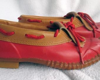 SALE Vintage Shoes Leather and Rubber Rain Shoes Size 6