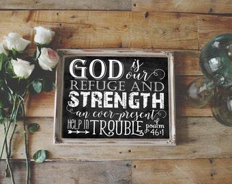 Scripture Art - Psalm 46:1 ~ Chalkboard Style