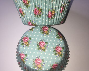Floral Vintage Style Cupcake Cases