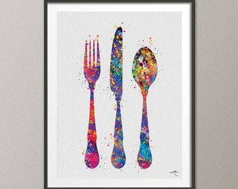 Fork Knife And Spoon Watercolor Art Print Dining Room Kitchen Wall Poster Giclee