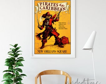 Disneyland Attraction Poster, Pirates of the Caribbean New Orleans Square Attraction Poster, DisneY Ride Poster, BUY 2 GET 1 FREE Not Framed