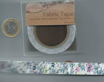 Adhesive fabric tape - Masking Tape - blue flowers - 15mm x 4 m