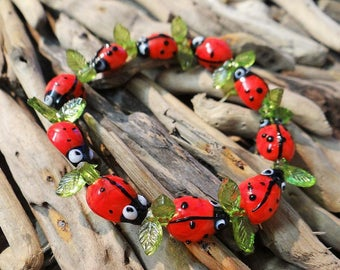 Lampwork Glass Ladybug Leaf Bracelet Leaves Lady Bug Ladybird Lady Bird Ladybeetle Lady Beetle cute Kawaii