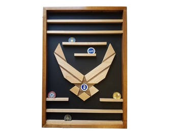 Military Air Force Challenge Coin Holder, Military 50 Coin Display, Wall Mount, Gift Bootcamp, Retirement, Enlistment, Going Away Hanging