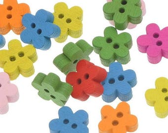 8 - small multicolored flowers - 2 holes - 11 mm wooden buttons