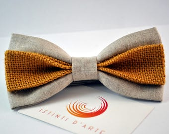Handmade bow tie for men made up of pure linen and natural yellow jute