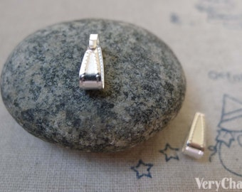 50 pcs of Silver Tone Iron Snap On Bail 4x10mm A5899