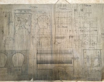 Vintage blueprint etsy beautiful 1904 original linen engineering drawing from which blueprints are made jabez burns sons malvernweather Choice Image