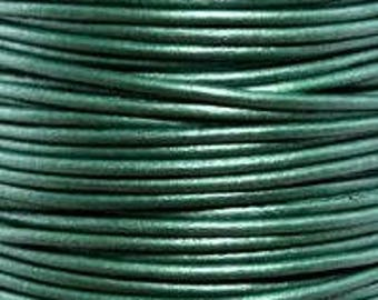 "2mm Round Metallic Ocean Green Leather Lace Cord - 2mm 3/32"" Diameter Craft Jewelry Bracelet Wrap Necklace - I ship Internationally"