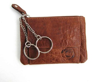 Veg Tan Leather Coin Purse with keyring