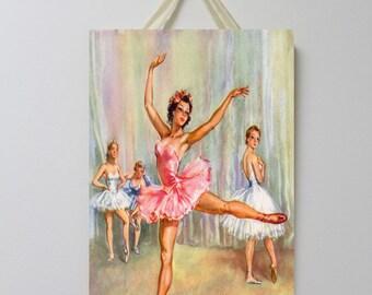 Ballerina Vintage Board 001, Ballet Decor, Ballerina Wall Decor, Ballerina Room Decor, Ballet Wall Art.